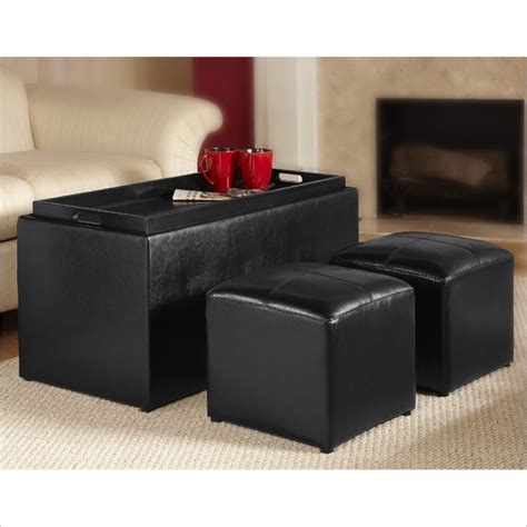 black faux leather ottoman storage bench design4comfort quot faux leather storage bench with 2 side