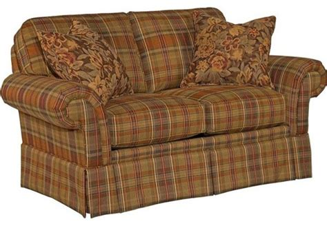 broyhill upholstery fabric broyhill erickson loveseat in brown plaid 6482 1q br