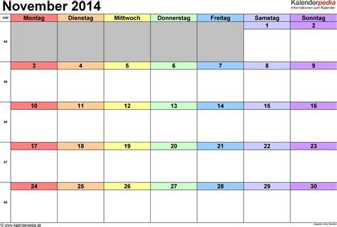 Calendar November 2014 Kalender November 2014 Als Excel Vorlagen