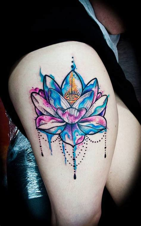 lotus tattoo on thigh 53 best lotus tattoos designs