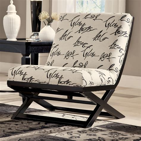 armless showood accent chair  abstract script fabric  signature design  ashley wolf