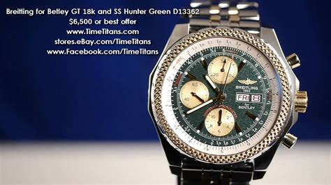 breitling bentley on wrist breitling for bentley gt 18k and stainless hunter green