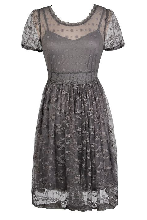 Dress Lace Grey grey embroidered lace dress grey a line dress grey
