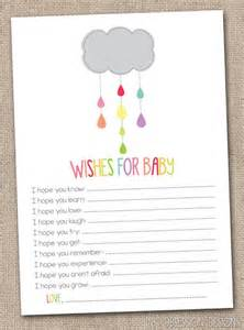 printable baby wishes card colorful shower cloud gender neutral baby shower design instant