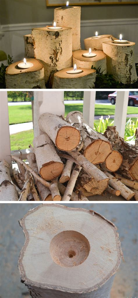 home decor craft ideas for adults tree stump candle holders 35 diy fall decorating ideas