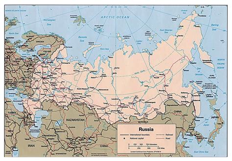 russia political map with cities large political map of russia with roads railroads and