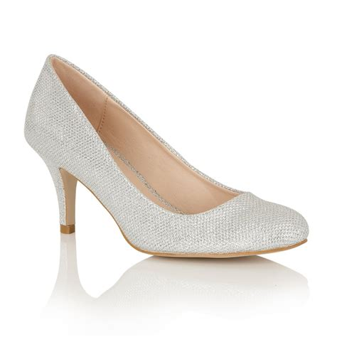 Silver Shoes buy dolcis korina slim heel court shoe silver