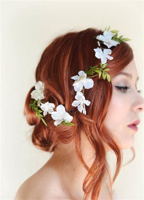 floral hair accessories for wedding white flower hair vine bridal headpiece wedding hair