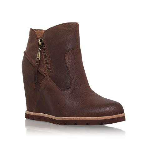 ugg myrna wedge heel ankle boots in brown lyst