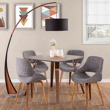 piece mid century modern dining set  walnut  grey
