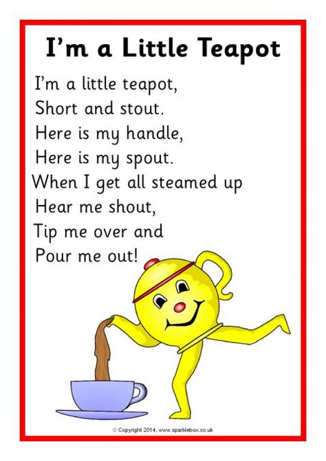 printable nursery rhyme stationary i m a little teapot song sheet sb10801 sparklebox