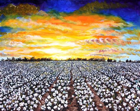 painting delta mississippi delta cotton field sunset painting by karl wagner