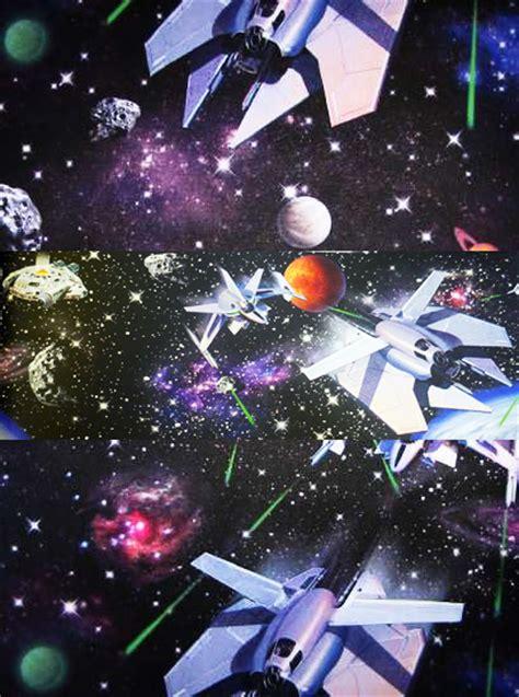 kinderzimmer deko raumschiff tapete raumschiff planeten weltall universum wanddeko