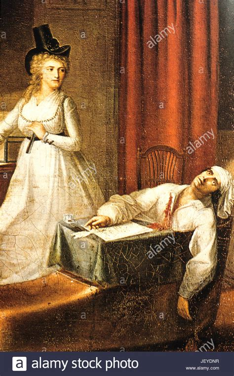 french revolution painting bathtub assassination of jean paul marat charlotte corday stock