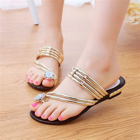 Flast Shoes Sandal Wanita Mg30 aliexpress buy fashion bohemia flip flops sandals 2015 slipper gold rhinestone flat