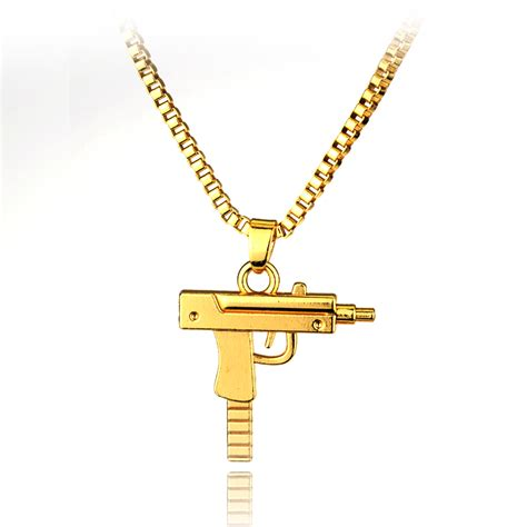hip hop jewelry engraved letter gun necklace 65cm