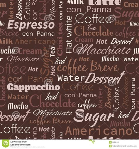 words pattern background coffee words tags seamless pattern stock illustration