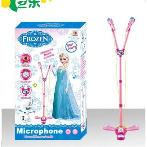 Microphone Anak Princess frozen singing microphone with light and