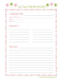 free printable recipe page template recipe cards food storage and beyond