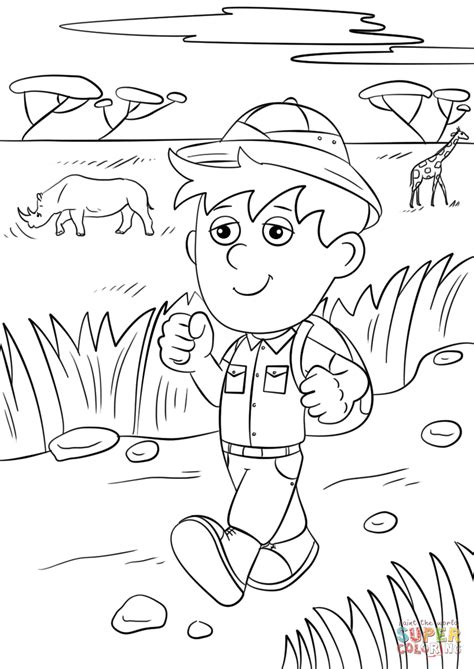 safari explorer coloring page  printable coloring pages