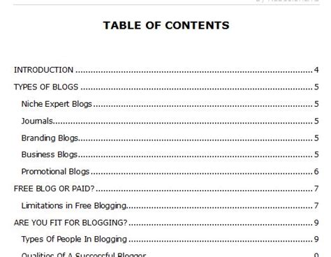 ebook format types table of contents template download cominyu info