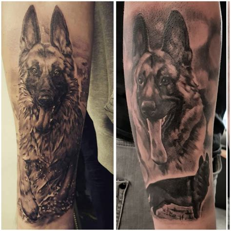 german shepherd tattoo forearm half sleeve of my german shepherd wolfy by
