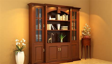 design cabinet yellow walls and brown cabinet design rendering