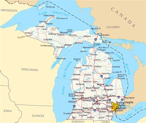 large map of michigan large map of michigan state with relief highways and