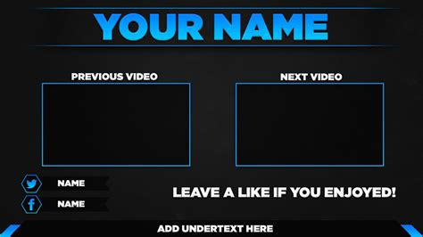 Free Outro Template Psd 2017 Youtube End Screen Template