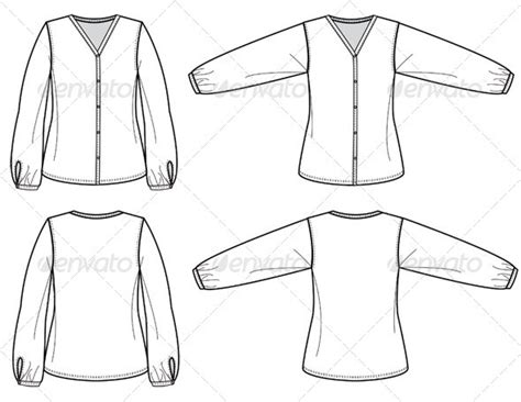 fashion flat sketches for womens silk blouse graphicriver