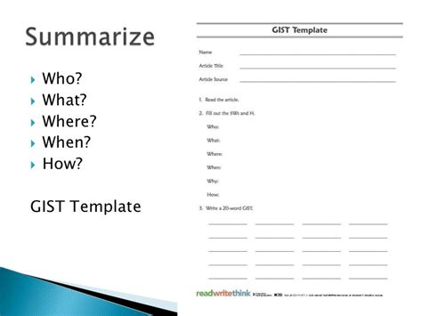 what is a gist template reading strategies 2