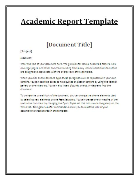 academic study template educational reports free reports