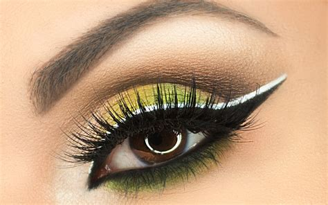 eyeshadow tutorial black and white green eye makeup tutorial with black white double liner