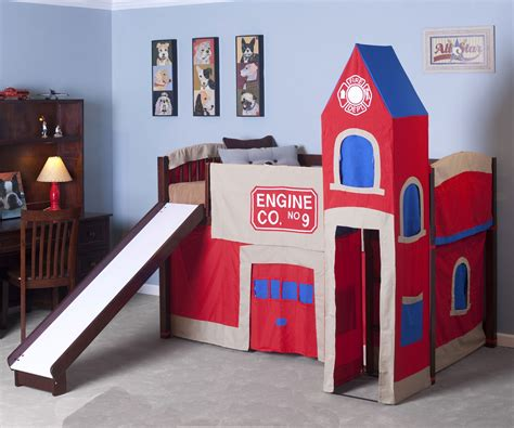 Firehouse Low Loft Bed 4060 Boys Playhouse Beds Ne Fireman Bunk Bed
