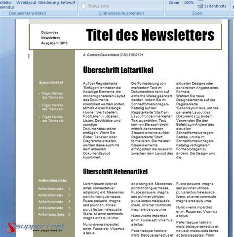Vorlage Word Zeitung Seite 4 Supportnet Gruppe Textverarbeitung