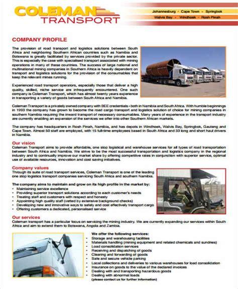 25 Company Profile Sles Pdf Sle Templates Trucking Company Profile Template