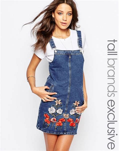 Dress Santai Floral Denim 17 best images about denim dresses dungarees playsuits on zara robes and overalls