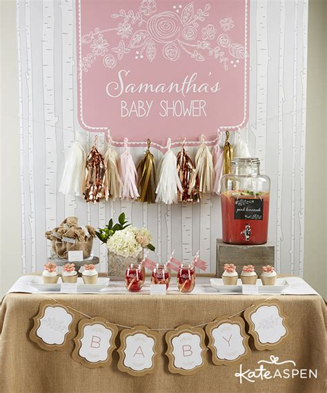 rustic pink baby shower decorations