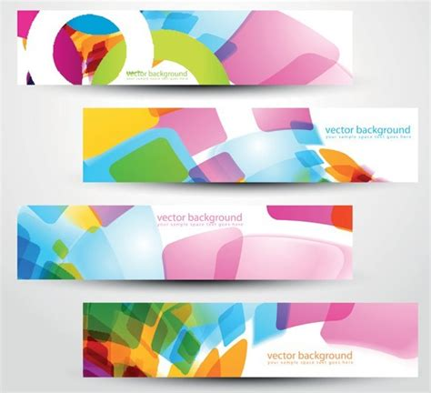 download design header footer free colored bright web banner header designs vector 02