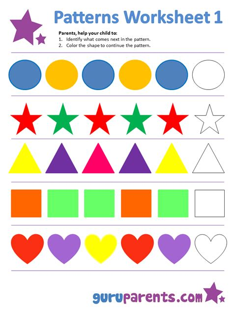 color pattern worksheets for kindergarten pattern worksheets guruparents