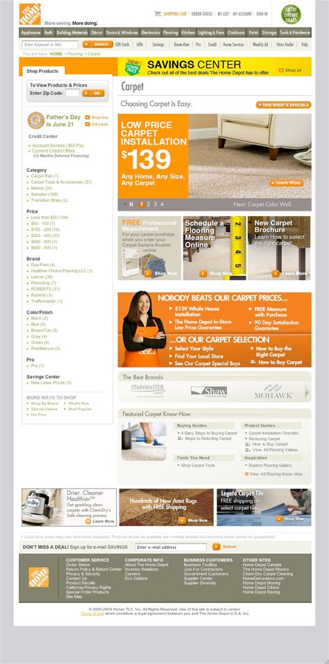 home depot website designs on behance