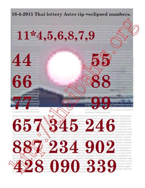 Thailand Phone Number Lookup Thai Lottery 16 4 2015 Astro Tips For The April 16th Results