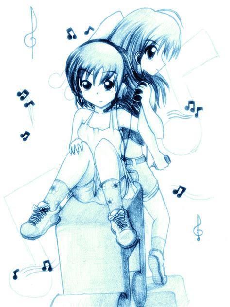 imagenes anime musica 2chicas escuchando musica by thesdros on deviantart