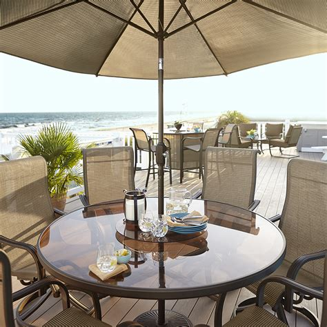 Edgewater Dining Table With Lazy Susan Outdoor Dining At Patio Table With Lazy Susan