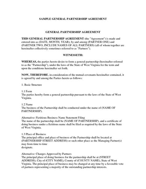 Agreement Letter For Business Partnership 7 Best Images Of Business Partnership Agreement Template