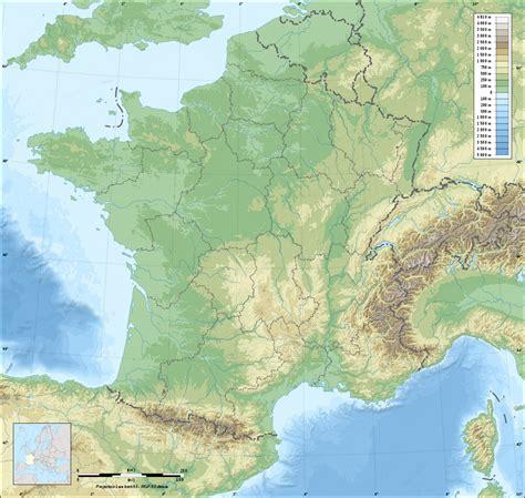 Fond de carte de France des regions avec relief
