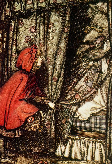 Book Duvet Cover Little Red Riding Hood Drawing By Arthur Rackham