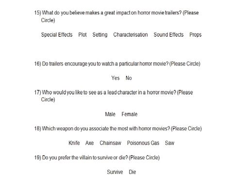 horror film questionnaire media sindy media my horror movie trailer questionnaire and