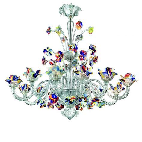 Murano Flower Chandelier Polychrome Murano Glas 12 Leuchten Kronleuchter