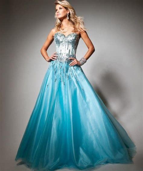 Dress Frozen Blue shiny sequined bodice gown prom debutante dresses light sky blue corset 2014 tulle